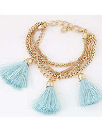 Fashion Light Blue Tassel Decorated Multilayer Design Alloy Korean Fashion Bracelet