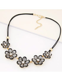 Fashion Gray Three Flowers Decorated Double Layer Design Alloy Bib Necklaces