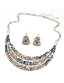 Fashion Silver Color Meniscus Pendant Decorated Simple Design Alloy Jewelry Sets