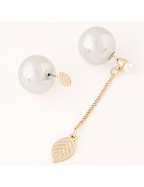 Sweet White Leaf&pearl Ball Decorated Dissymmetry Design