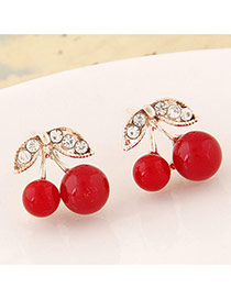 Sweet Red+white Diamond Decorated Cherry Shape Design Alloy Stud Earrings