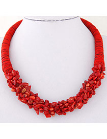 Bohemia Red Irregular Shape Decorated Weave Design Stone Bib Necklaces