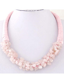 Bohemia Pink Irregular Shape Decorated Weave Design Stone Bib Necklaces