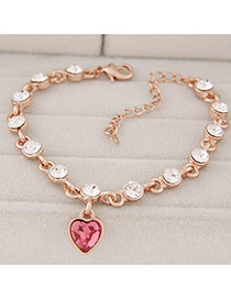 Fashion Plum Red Heart Shape Pendant Decorated Simple Design Alloy Korean Fashion Bracelet
