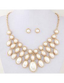 Fashion White Ova Shape Decorated Multilayer Design Alloy Jewelry Sets
