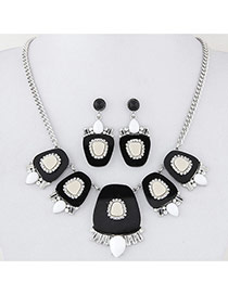 Fashion Black Geometry Shape Decorated Simple Design Alloy Jewelry Sets