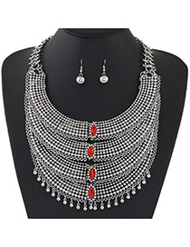Fashion Red Crescent Shape Decorated Tassel Design Alloy Jewelry Sets
