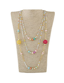 Fashion Multicolor Beads Decorated Multilayer Design Alloy Beaded Necklaces