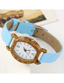 Fashiom Blue Round Shape Dial Plate Decorated Simple Design Leather Ladies Watches