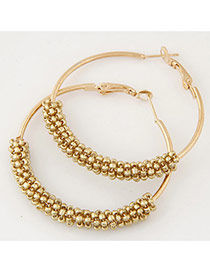 Fashion Gold Color Beads Decorated Circle Design Alloy Korean Earrings