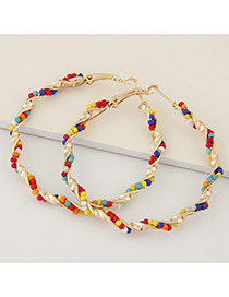 Fashion Multicolor Beads Decorated Twine Design Alloy Korean Earrings