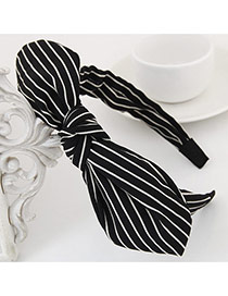 Fashion Black Stripe Pattern Decorated Bowknot Design Fabric Hair band hair hoop