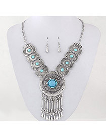 Vintage Light Blue Diamond Tassels Decorated Hollow Out Design
