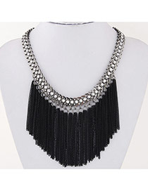 Exaggerate Black Diamond Tassels Decorated Simple Design
