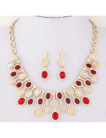 Fashion Red Oval Diamond Decorated Symmetry Design