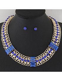 Temperament Sapphire Blue Hollow Out Metal&diamond Weaving Decorated Collar Design