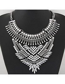 Exaggerate Silver Color Hollow Out Geometric Shape Decorated Short Chain Design Alloy Bib Necklaces