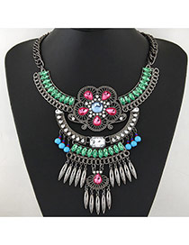 Exaggerate Green Hollow Out Flower&tassel Pendant Decorated Short Chain Design