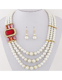 Fashion Red Square Diamond&pearl Decorated Multilayer Design