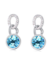 Luxurious Blue Diamond Decorated Simple Design Alloy Crystal Earrings