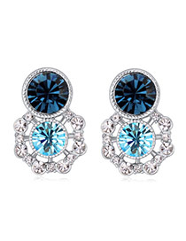 Luxurious Dark Blue Diamond Decorated Flower Design Alloy Crystal Earrings