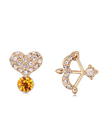 Luxurious Champagne Gold+yellow Heart&arrow Shape Decorated Asymmetric Design Alloy Crystal Earrings