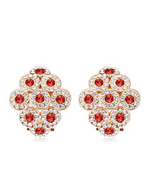 Luxurious Champagne Gold+padparadscha Diamond Decorated Rhombus Shape Design Alloy Crystal Earrings