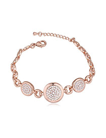 Luxurious Rose Gold+white Diamond Decorated Round Shape Design Alloy Crystal Bracelets