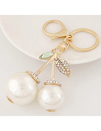 Fashion White Diamond Decorated Cherry Shape Design Alloy Fashion Keychain