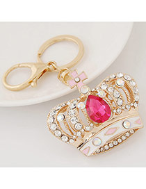 Fashion Red Diamond Decorated Crown Shape Design Alloy Fashion Keychain