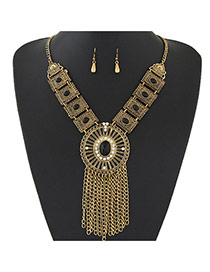 Trendy Gold Color+black Gemstone &tassel Pendant Decorated Short Chain Design