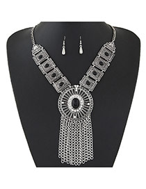 Trendy Silver Color+black Gemstone &tassel Pendant Decorated Short Chain Design Alloy Jewelry Sets