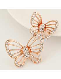 Fashion Gold Colour Diamond Decorated Butterfly Shape Design Alloy Korean Brooches