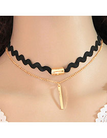 Sweet Gold Color Vertical Bar Pendant Decorated Double Layer Design