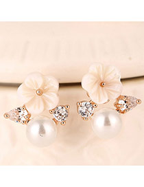 Sweet Rose Gold Shell Flower Shape Decorated Simple Design Zircon Stud Earrings