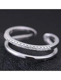 Sweet Silver Color Diamond Decorated Double-deck Opening Design Zircon Korean Rings