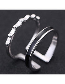 Sweet Silver Color Color Matching Decorated Opening Design Cuprum Korean Rings