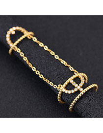 Sweet Gold Color Diamond Decorated Metal Conjoined Design Zircon Korean Rings