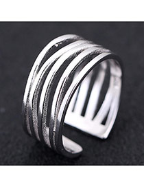 Sweet Silver Color Multilayer Decorated Opening Design Cuprum Korean Rings
