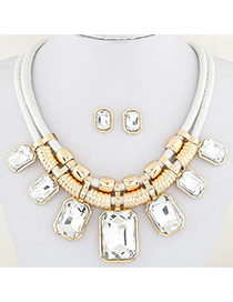 Fashion White Square Shape Decorated Double Layer Design