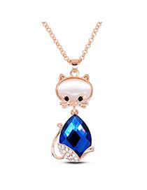 Cute Blue Diamond Decorated Cat Shape Design Alloy Pendants
