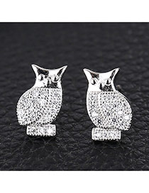 Sweet Silver Color Owl Shape Decorated Simple Design Cuprum Stud Earrings