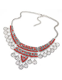 Exaggerated Red Coins Shape Tassel Pendant Decorated Short Chain Design Alloy Bib Necklaces