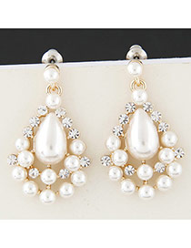 Sweet Gold Color Pearl Flower Decorated Hollow Out Waterdrop Shape Design