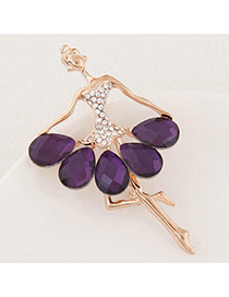 Exquisite Purple Waterdrop Shape Diamond Decorated Ballet Girl Design Alloy Korean Brooches