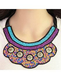 Bohemia Multi-color Beads Weaving Decorated Collar Design