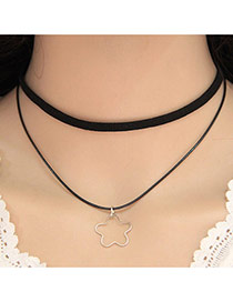 Elegant Black Flower Shape Pendant Decorated Double Layer Design Alloy Bib Necklaces