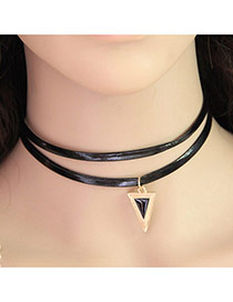 Elegant Black Triangle Pendant Decorated Double Layer Design