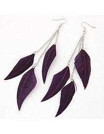 Personalized Purple Feather Pendant Decorated Tassel Design Alloy Korean Earrings
