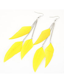 Personalized Yellow Feather Pendant Decorated Tassel Design Alloy Korean Earrings